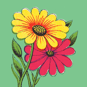illustration of yellow and red flower with a green background