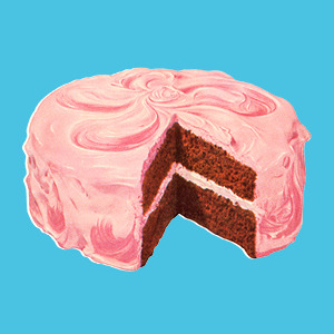 illustration of a pink cake with a light blue background