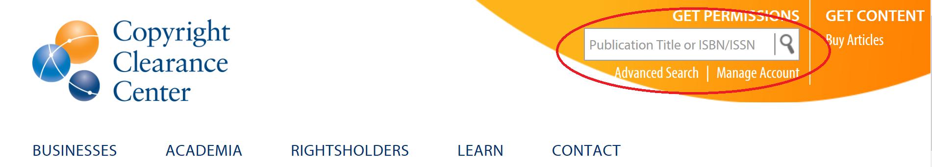 Screenshot of Copyright Clearance Center website search bar