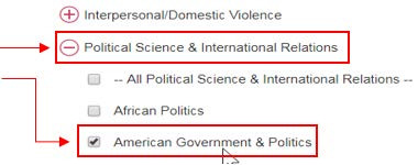 Political Science & International Relations/check the box for American Government & Politics