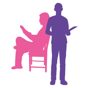 pink sitting down silhouette and purple standing silhouette