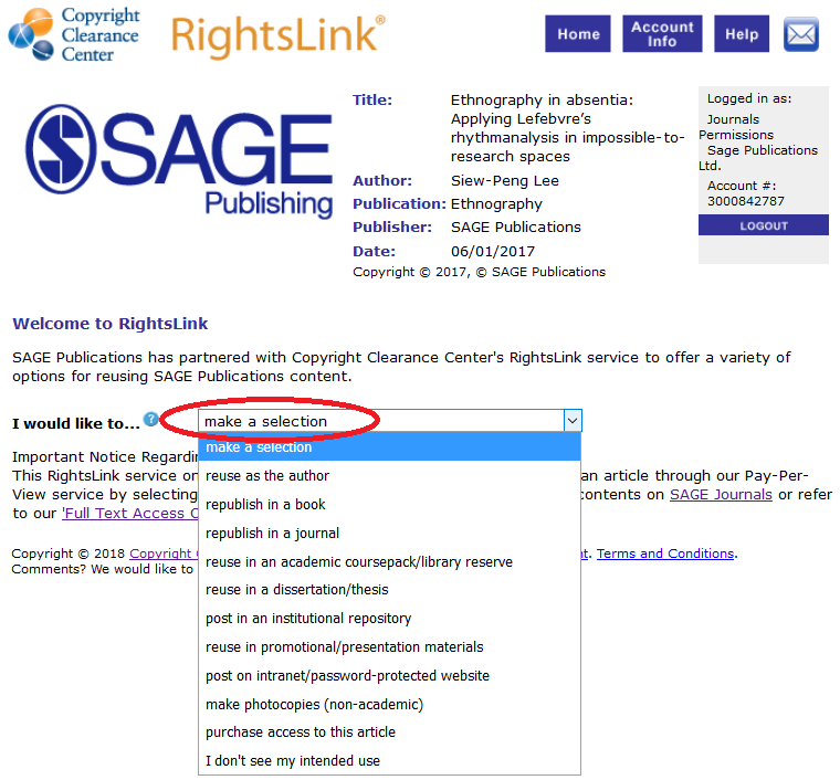 Screenshot of example of a RightsLink permission request page